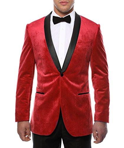 Velveteen Jacket Blazer - Ferrecci Men's Enzo Red Velvet Slim Fit Shawl Lapel Tuxedo Blazer - 44R