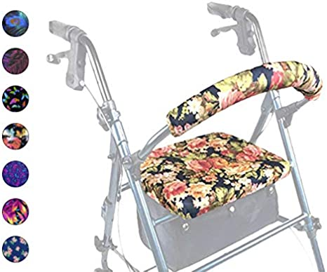 Crutcheze Designer Floral Rollator Walker Seat and Backrest Covers Designer Fashion Accessories Made in USA