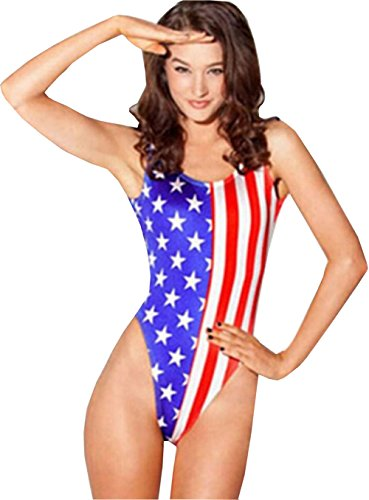 Uget Women's Printed American Flag One Piece Swimsuit Sexy Monokini Swimsuit (Usa Body Suit)