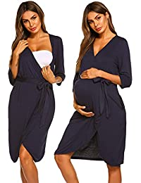 f12abf4281b Womens Maternity Pregnancy Labor Robe Hospital Breastfeeding Gown (Navy