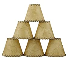 Urbanest 1100504c Chandelier Lamp Shades 6-inch, Hardback, Faux Leather, Laced Trim, Clip on (Set of 6)