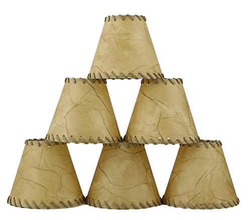 Urbanest 1100504c Chandelier Lamp Shades 6-inch, Hardback, Faux Leather, Laced Trim, Clip on (Set of 6) Rawhide Trim