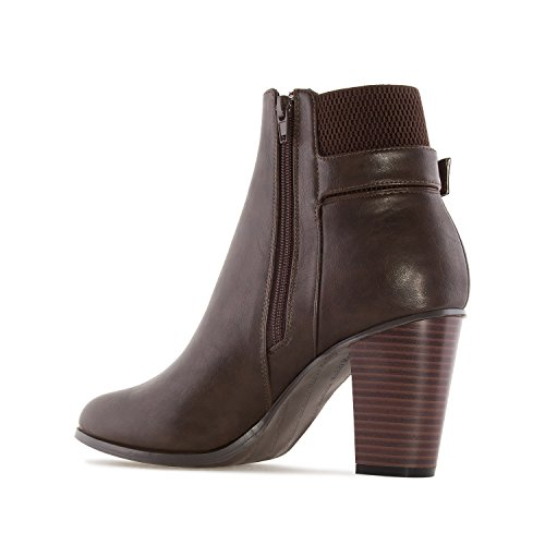 Andres Machado AM4085.Buckle Ankle Boots In Faux Leather.Womens Petite&Large Szs:US 2 To 5 -US 11.5 To 13/EU 32 To 35 -EU 43 To 45 Brown Faux Leather N7igm