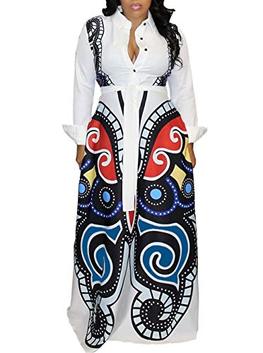 Women Butterfly Geometric Print Dress Stand up Neck Button Down Long Maxi Party Club Shirt Dress White M (Coat Club Collar)