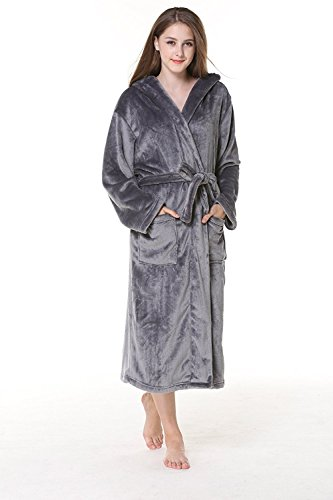 Dannifore Women's Warm Fleece Robe Hooded Long Sleeves Pajams Bathrobe Grey Medium