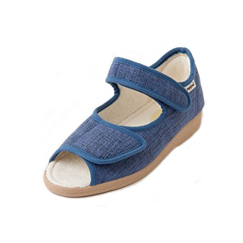 Fit Sole Lightweight Women's Wide Non 'deana' Twin Outdoor Sandpiper Sandal Extra Fastening slip Touch Denim cushioned 6e YHUqnx