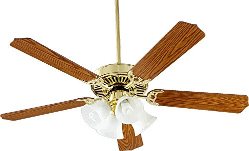 Quorum International 77525-8102 Capri V 52-Inch 4 Light CFL Ceiling Fan, Polished Brass Finish with Faux Alabaster Glass Shades and Reversible - Faux Alabaster