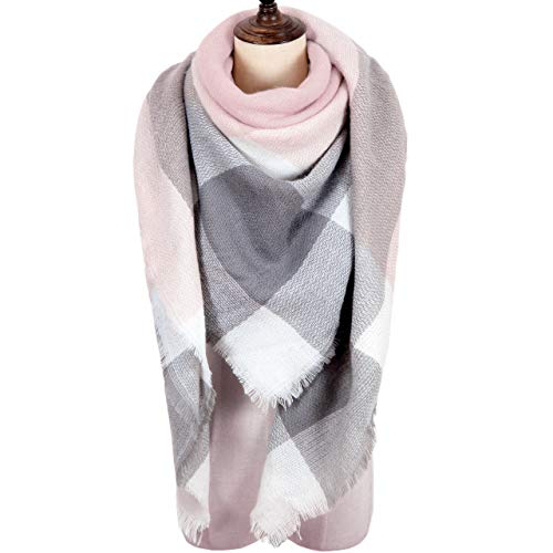MissShorthair Winter Plaid Blanket Scarfs for Women Large Square Tartan Shawl Wrap ()