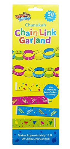 Chanukah Chain Link Garland - 50 Links - Up to 12 Feet Long - Self Stick Edges - Hanukkah Party Decorations and Supplies by Izzy 'n' Dizzy -