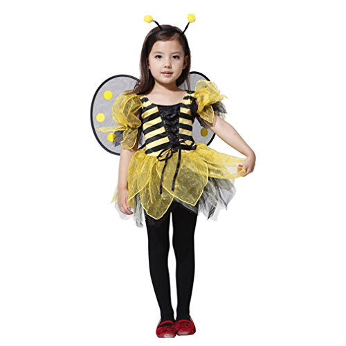 Spooktacular Girls' Beautiful Bumblebee Costume Set w/ Dress, Headband, Wings, (Girl In A Bee Costume)