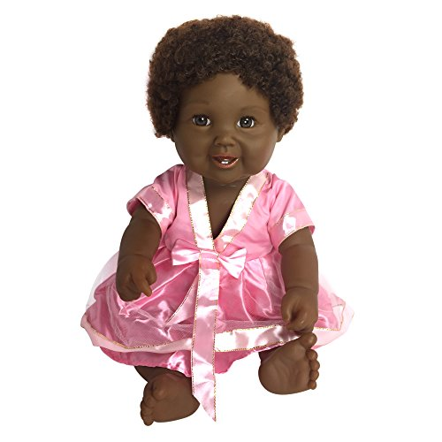 Search : Black African American Baby Doll With Afro Hair | Tall 18 Toy Doll With Cute Dress | Fits Girl Clothes & Accessories