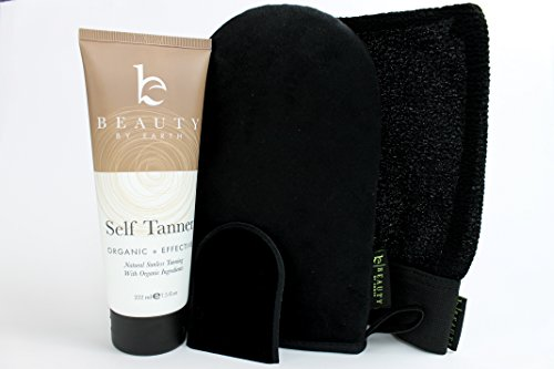 Self Tanner & Tanning Application Kit - Bundle of Sunless Tanning Lotion Made With Natural & Organic Ingredients, Exfoliation Mitt, Body and Face Applicator Glove for a Professional Self Tan by Beauty by Earth (Image #3)