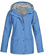 HebeTop ✰ Women's Windbreaker Fashion Solid Rain Jacket Outdoor Hoodie Waterproof Long Coat Windproof Overcoat