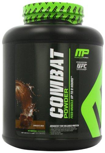 Muscular combate Pharm polvo avanzada tiempo liberación proteína, leche con Chocolate, bañera de 4 libras