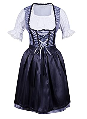 DEARCASE Women's 3 Pcs Dirndl Serving Wench Bavarian Beer Girl Oktoberfest Adult Costume