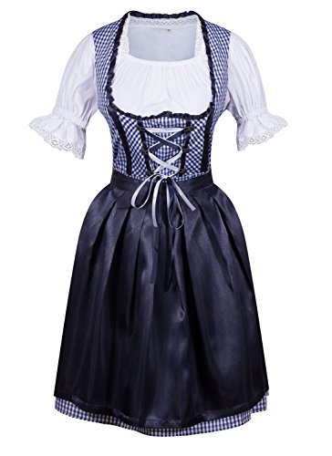 [Women's Dirndl Serving Wench Bavarian Beer Girl Oktoberfest Adult Costume Medium] (German Dress)