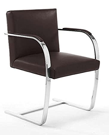 Brunston Leather Cantilever Chair With Flat Steel Frame   Brown Leather