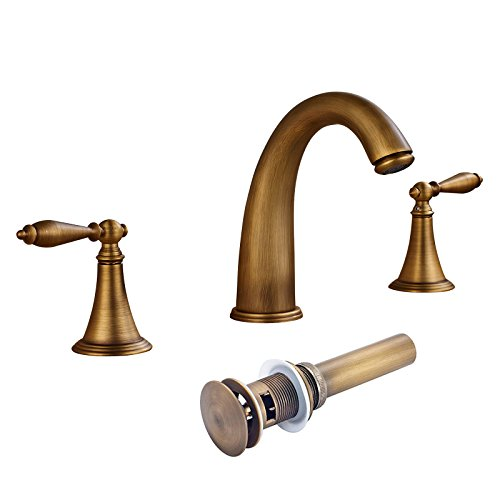 Senlesen Widespread Three Holes Bathroom Sink Faucet Two Handles Basin Mixer Tap Antique Brass