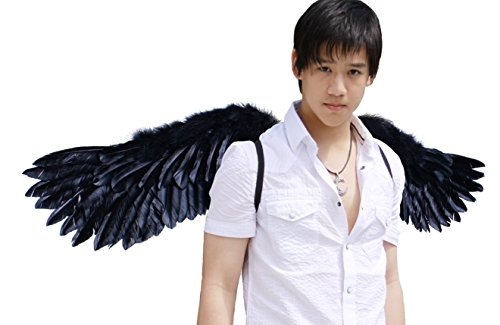FashionWings (TM) Black Wide Spread Costume Feather Angel Wings, Halo & (Angel Costume Men)