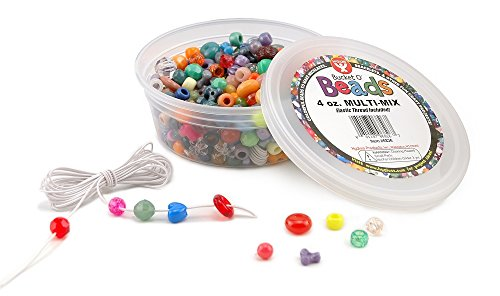 Hygloss Products 6826 Bucket O'Beads with Thread-4 oz Multi-Mix, Container (with Elastic