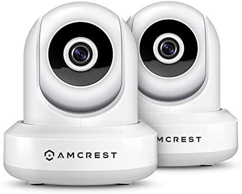 2-Pack Amcrest ProHD IP2M-841EW 1080P POE Power Over Ethernet IP Camera w Pan Tilt, Two-Way Audio, 90 Degree FOV, White