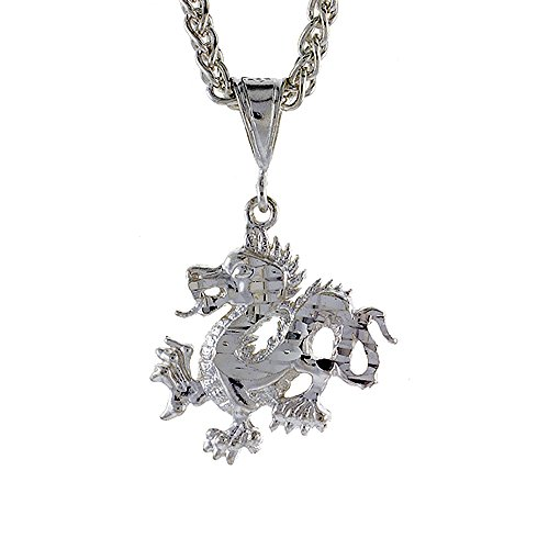 Sterling Silver Chinese Dragon Pendant - Sterling Silver Small Chinese Dragon Pendant, 1 inch tall