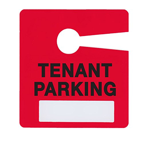 Tenant Parking Permit Pass Stock Hang Tags for Landlords, Commercial Office Buildings, Car Lots, Apartments, by Milcoast,10 Pack (Red) (Rear View Mirror Tags)