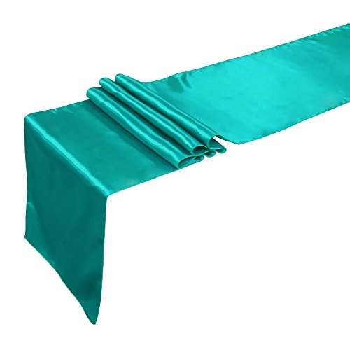 Ling's moment 12 x 108 Inch Satin Teal Blue Table Runner, Pa