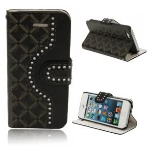 Luxury Diamante PU Leather Protective Case for iPhone 5/5S Black