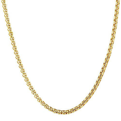U7 3mm Box Chain Square Rolo Necklace 24