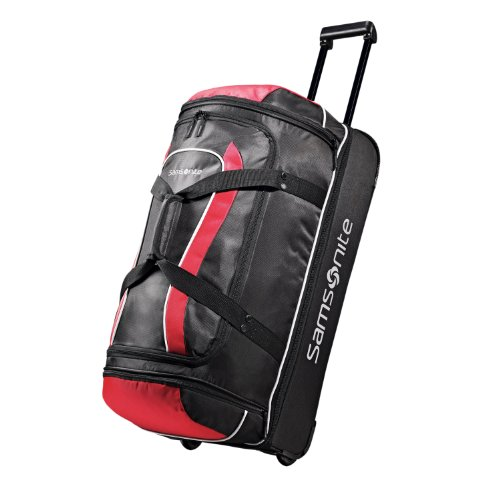 Samsonite Luggage Andante Drop Bottom Wheeled Duffel, Black/Red, 28