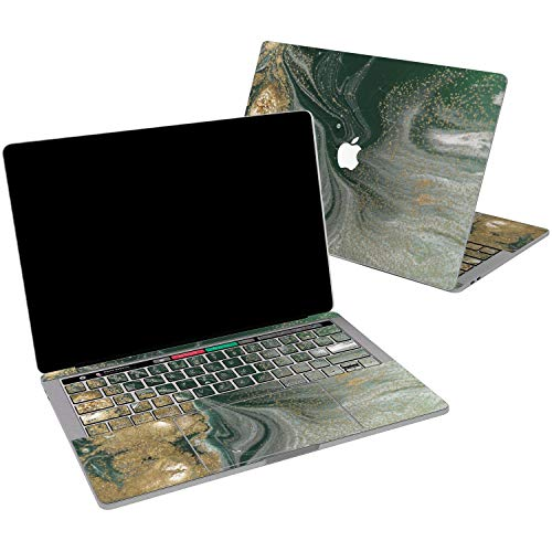 (Lex Altern Vinyl Skin for MacBook Air 13 inch Mac Pro 15 Retina 12 11 2019 2018 2017 2016 2015 Emerald Gold Oil Paint Abstract Green Luxury Trend Touch Bar Trackpad Cover Keyboard Decal Sticker Top)