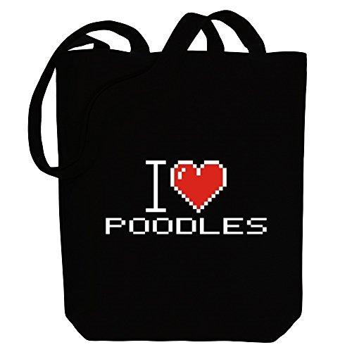 Idakoos I love Poodles pixelated - Hunde - Bereich für Taschen gHfzOrWdq