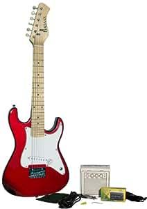 BADAAX EGMINIRE Beginner Mini Electric Guitar Package, Red