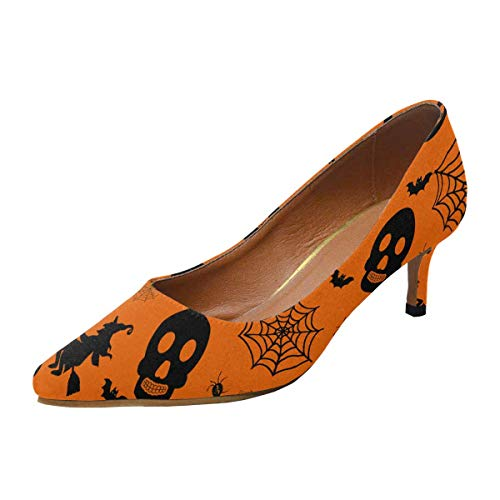 INTERESTPRINT Women's Low Heels Dress Shoes Pointed Toe Pump Halloween Pattern with Witch, Bat, Ghost US7