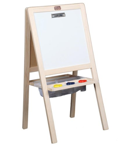 TikkTokk TBE03N Little Boss Junior Easel 4-in-1 Solid Pinewood Foldaway Easel with Chalk Board, Magnetic Board, Paint Board, Erasable White Board and Accessories, Natural