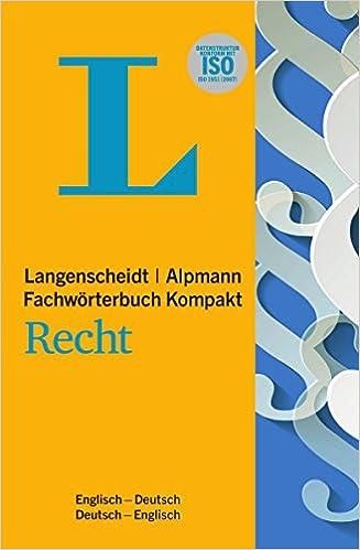 Langenscheidt Fachwörterbuch Kompakt Recht Englisch In Kooperation