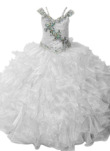 Yc Y&C Girls Pageant Dresses Tulle Tiered Ball Gown First/Holy Communion Dresses 10 US White
