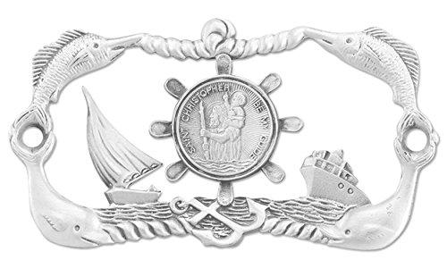 (6 10/18) Boat Plaque Genuine Pewter 3.75
