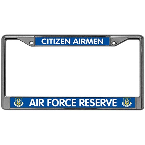 - GND US AIR Force Reserve Metal Chrome Auto License Plate Cover,Citizen Airman License Plate Frame Laser Funny Metal License Plate Frame Tag Holder with Screw caps
