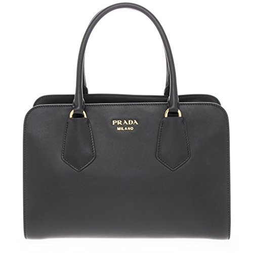 Prada-Womans-Smooth-Leather-Top-Handle-Bag-Black