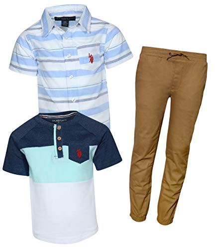 U.S. Polo Assn. Little Boy\'s 3-Piece Pant Set with Woven Shirt and Tee, Multi Stripe/Khaki, Size 5'