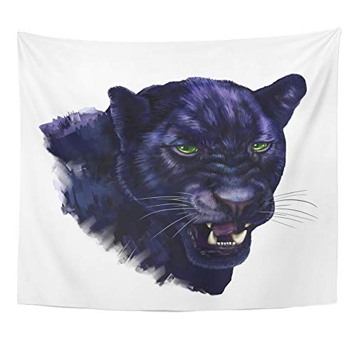 Emvency Tapestry Wall Hanging Animal Black Panther Digital Painting Head Jaguar Big Brush Canvas Carnivore Polyester Fabric Home Decor for Living Room Bedroom Dorm 50x60 (Jaguar Wall Brush)