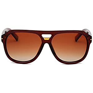 """PRIVÉ REVAUX ICON Collection """"The Blake"""" [Limited Edition] Handcrafted Designer Polarized Aviator Sunglasses For Men & Women (Brown)"""