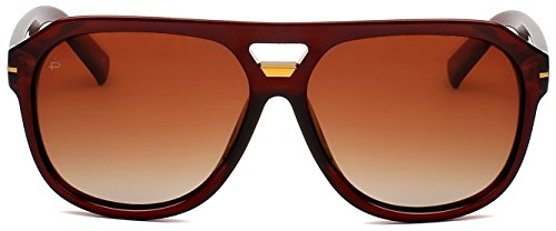 "PRIVÉ REVAUX ICON Collection ""The Blake"" [Limited Edition] Handcrafted Designer Polarized Aviator Sunglasses For Men & Women (Brown)"