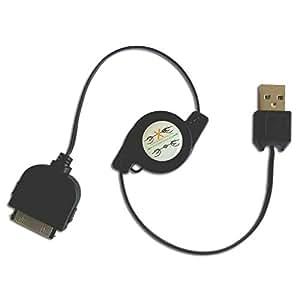Cable retráctil de Carga y Datos negro para Iphone 4 / 4S / 3G / 3GS