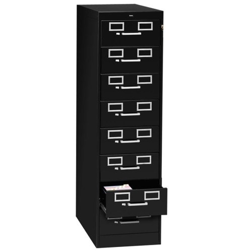 Eight-Drawer File Cabinet For 3 x 5 & 4 x 6 Cards, 15w x 52h, Black by Tennsco