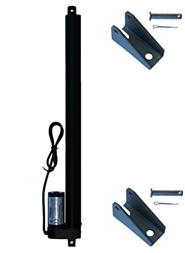 WINDYNATION 16 Inch 16 Stroke Linear Actuator 12 Volt 12V 225 Pounds lbs Maximum Lift (Includes Mounting Brackets)