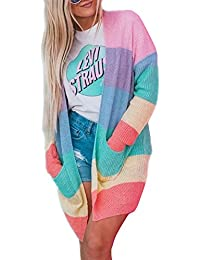 Women's Long Sleeve Rainbow Color Block Open Front Drape Oversized Knitted Sweater Cardigan with Pockets