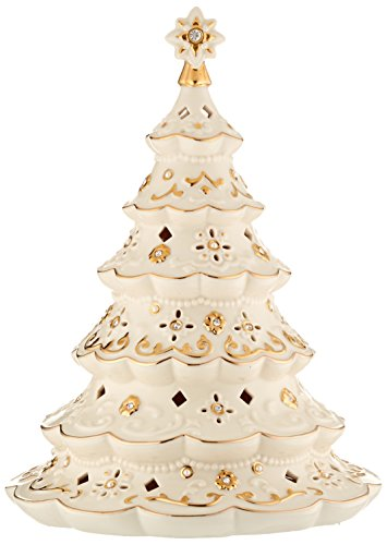 Lenox Florentine & Pearl Lit Tree - Decorated Christmas Tree Figurine
